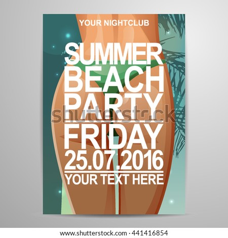 vector summer beach party flier design stock vector royalty free