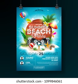 Vector Summer Beach Party Flyer Design with typographic elements on wood texture background. Summer nature floral elements, tropical plants, flower, beach ball and sunshade with blue cloudy sky