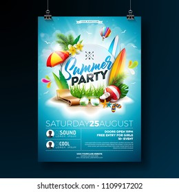 Vector Summer Beach Party Flyer Design with typographic elements on blue cloudy sky background. Summer nature floral elements, tropical plants, flower, beach ball, surf board and sunshade. Design