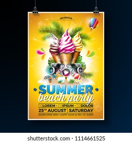 Vector Summer Beach Party Flyer Design with Ice Cream and Speakers on Shiny Background. Tropical plants, flower, sunglasses, beach ball and air balloon with sun rays. Holiday design template for