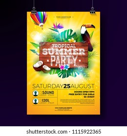 Vector Summer Beach Party Flyer Design with typographic elements on wood texture background. Tropical plants, flower, toucan bird, coconut and air balloon with blue cloudy sky. Holiday design template