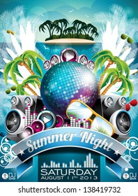 Vector Summer Beach Party Flyer Design with disco ball and sunglasses on abstract tropical background. Eps10 illustration.