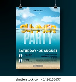 Vector Summer Beach Party Flyer Design with 3d Typography Letter on Underwater Blue Ocean Background. Realistic Summer Vacation Holiday Design Template with Water and Cloudy Sky for Banner, Flyer