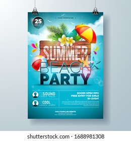 Vector Summer Beach Party Flyer Design with Flower, Palm Leaves and Starfish on Ocean Blue Background. Summer Holiday Illustration with Vintage Wood Board, Tropical Plants and Cloudy Sky for Banner