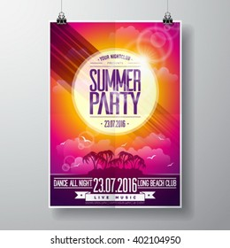 Vector Summer Beach Party Flyer Design with typographic elements on ocean landscape background. Eps10 illustration.