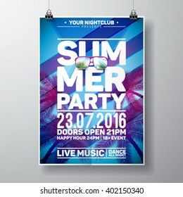 Vector Summer Beach Party Flyer Design with typographic elements and copy space on color palm background. Eps10 illustration.
