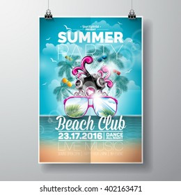 Vector Summer Beach Party Flyer Design with typographic and music elements on ocean landscape background. Eps10 illustration.