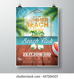 Vector Summer Beach Party Flyer Design with sunglasses on ocean landscape background. Typographic design on vintage wood. Eps10 illustration.