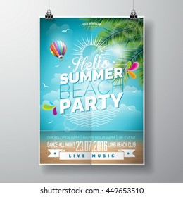 Vector Summer Beach Party Flyer Design with typographic elements on ocean landscape background. Air balloon and palm tree. Eps10 illustration.