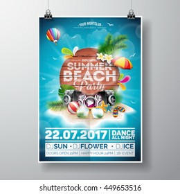 Vector Summer Beach Party Flyer Design with typographic elements on wood texture background. Summer nature floral elements and sunglasses. Eps10 illustration.