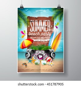 Vector Summer Beach Party Flyer Design with typographic elements on wood texture background. Summer nature floral elements, surf, board, music objects and sunglasses. Eps10 illustration.