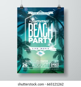 Vector Summer Beach Party Flyer Design with typographic design on nature background with palm trees. Eps10 illustration.