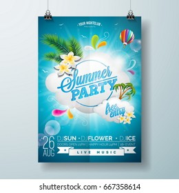 Vector Summer Beach Party Flyer Design with typographic design on nature background with  cloud and air balloon. Eps10 illustration.