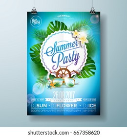 Vector Summer Beach Party Flyer Design with typographic design on nature background with palm trees and sunglasses. Eps10 illustration.
