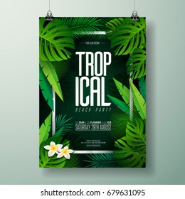 Vector Summer Beach Party Flyer Illustration with typographic design on nature background with palm leaves.