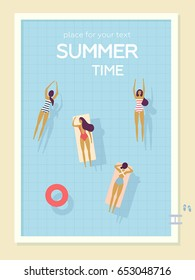 Vector summer beach poster. Girls relax and swimming in the pool. Summertime travel illustration. Top view, bird's-eye