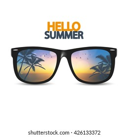 Vector summer beach, with sunglasses,