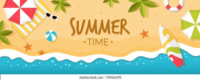 Vector summer beach with beach umbrellas, waves, coconut tree and surfing board