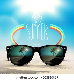 Vector summer blurred beach, with sunglasses, background illustration