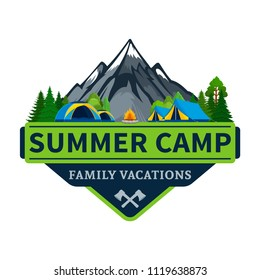 Vector summer camp and outdoor recreation logo. Tourism, hiking and campground badge.