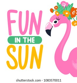 Vector summer card with funny pink flamingo. Trendy illustration. Tropical bird. Animal exotic. Element for print design, greeting card, posters, party decorations.  Cute flamingos. Fun in the sun.