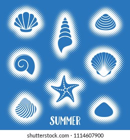 Vector summer card with sea shells halftone design