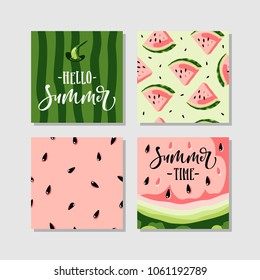 Vector summer cards set with watermelon and hand written text.