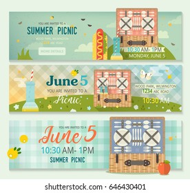 vector summer collection family picnic banner stock vector royalty