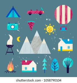 Vector summer colorful illustration, travelling, holidays. Hiking, mountain travelling objects set