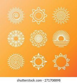 Vector summer concepts in linear style - sun and flower icons and signs