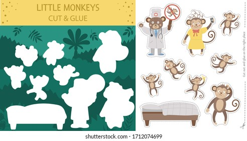 Vector summer cut and glue activity with five little monkeys. Tropical educational nursery rhyme crafting game with cute animal characters. Printable worksheet for teaching counting to 5