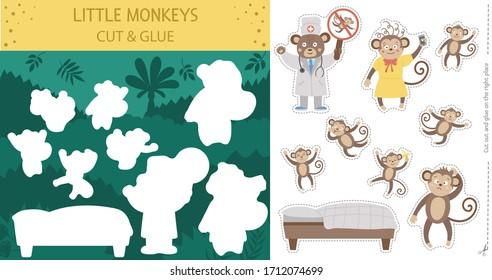 Image vectorielle coupe d'été et activité de colle avec cinq petits singes. Un jeu de comptine tropicale et éducatif fait de la rime avec de mignons personnages animaux. Feuille de calcul imprimable pour l'enseignement du comptage jusqu'à 5