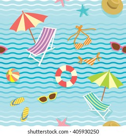 Vector of summer element objects decoration into seamless pattern.Wallpaper,gift wrapping,fabric pattern background in blue wave of sea or pool.