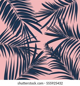 Vector summer exotic floral tropical palm leaf, banana  in blue navy pink style. Modern 2017 background. Plant flower nature wallpaper texture.Banana plant