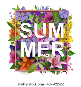 Vector summer flowers background.With an inscription summer.Composition of the delicious summer flowers for design of postcards, brochures, banners, flyers, on a plain surface,isolated