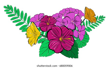 Vector summer flowers bouquet, bright colors. Flowers, branches and leaves.