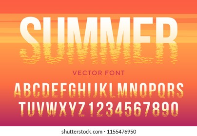 Vector summer font made of sun light reflection in the sea. Latin alphabet from A to Z and numbers from 0 to 9 in sunset beach style.