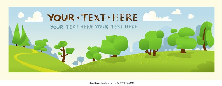 Vector summer forest landscape.