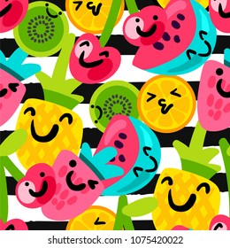 Vector Summer Fruits Patterns in cartoon style. Fruits and berries. Sweet backdrop