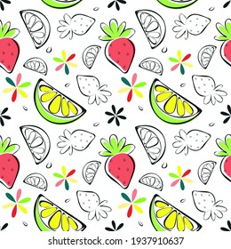 Vector summer fruits seamless pattern, sketch hand drawn lemon slice, strawberry, transparent shapes, flowers in colors of bright pink, lime green, yellow. White Background