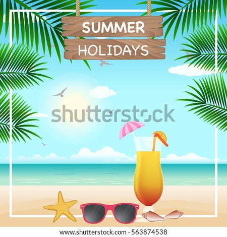 8a939334d09 Vector Summer Holiday Background Beach Scenery Stock Vector (Royalty ...