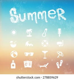 Vector summer icon set on a blurred background beach.