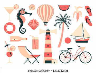 Vector summer illustration, flat icon set, white background. Travel collection. Cocktail, seahorse, balloon, shell, watermelon, compass, banana, flip flops, boat, palm tree, bicycle, lighthouse, chair