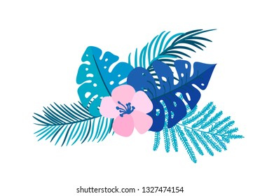 Vector summer isolated flat flower bouquet tropical palm monstera on isolated white background. Scandinavian hand drawn nature illustration wedding or travel design. For greeting card, print, tag, etc
