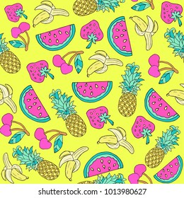 Vector summer juicy fruit doodle cartoon style background, seamless pattern for tropical, child theme products and web design.