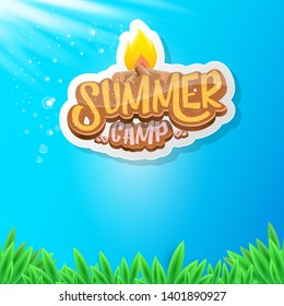 vector summer kids camp cartoon logo with campfire isolated on blue sky background. Summer camp vintage funky flyer, funny label or poster design template with fireplace and calligraphic text  - Shutterstock ID 1401890927