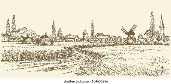 Vector summer landscape. A dirt path through fields of wheat to the old windmill near the village