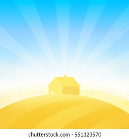 Vector Summer Landscape with Farm House near Field of Wheat under Blue Sunny Sky.