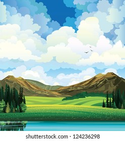 Vector summer landscape with green flowering field, forest, mountains and lake on a blue cloudy sky background with birds.