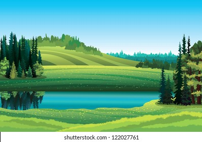 Vector summer landscape with green grass, forest, lake and hill on a blue sky background